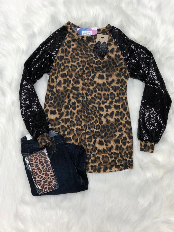 Black Sequence Animal Print
