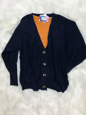 Navy melange button down cardigan