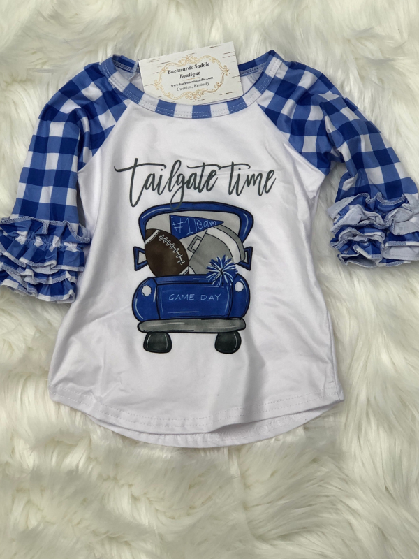 Blue Tailgate Raglan Football Kids Shirt