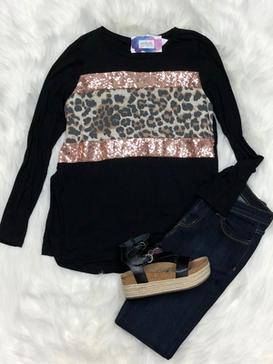 Leopard top with sparkles