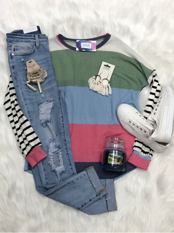 Multi-color top with striped sleeves