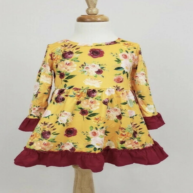 Mustard Floral Long Sleeve Dress
