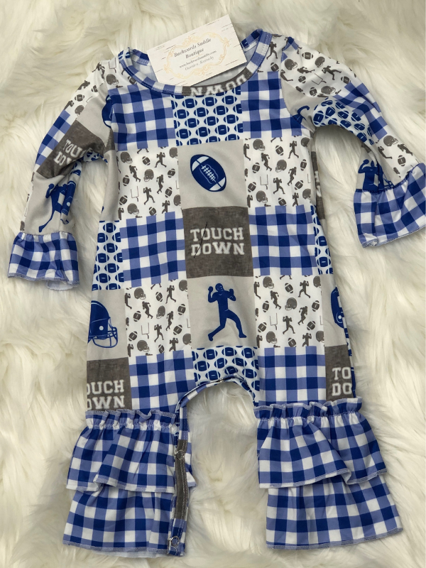 Blue Football Baby Romper