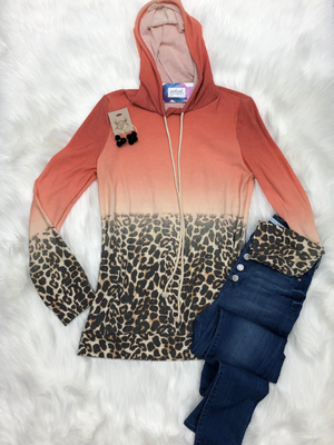 Hooded leopard top