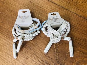 Ivory Mix Beaded & Tassel Bracelet Set