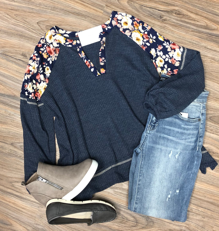 Navy Floral Peasant Tunic