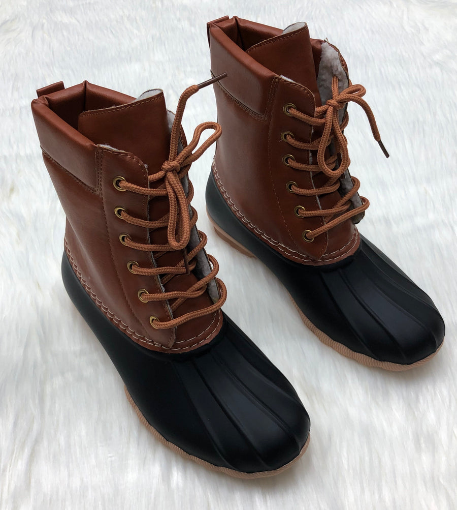 Black wool Lined Winter Boots