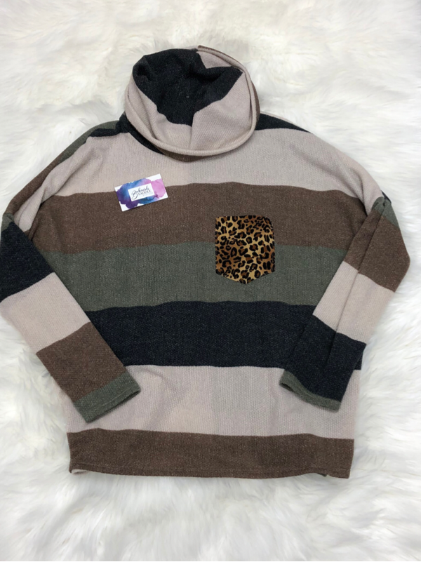 Olive & Charcoal Color Block Sweater