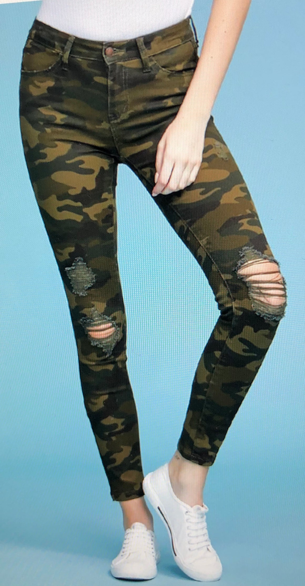 Judy Blue Distressed Camo Skinny Jeans
