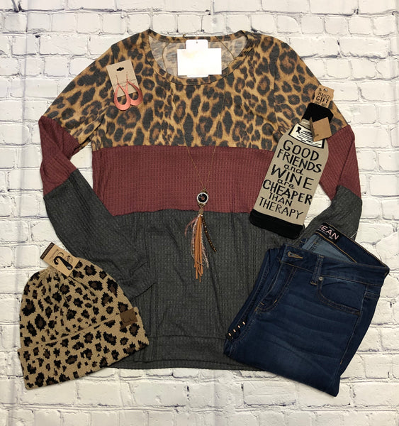 Long sleeve top with leopard design