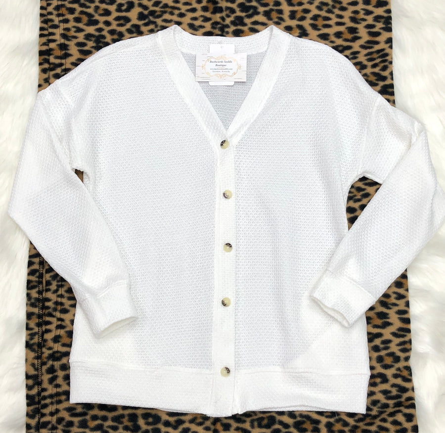 White Boxy Cardigan