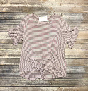 Plus Stripe Tied Top