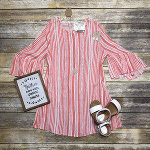 Coral Striped Dress