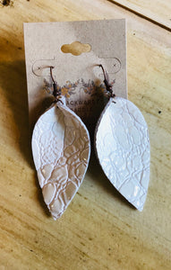 White Distressed Leather Earrings