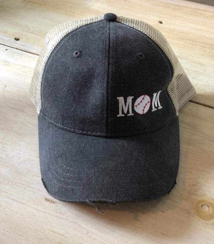 Distressed Baseball Mom Hat