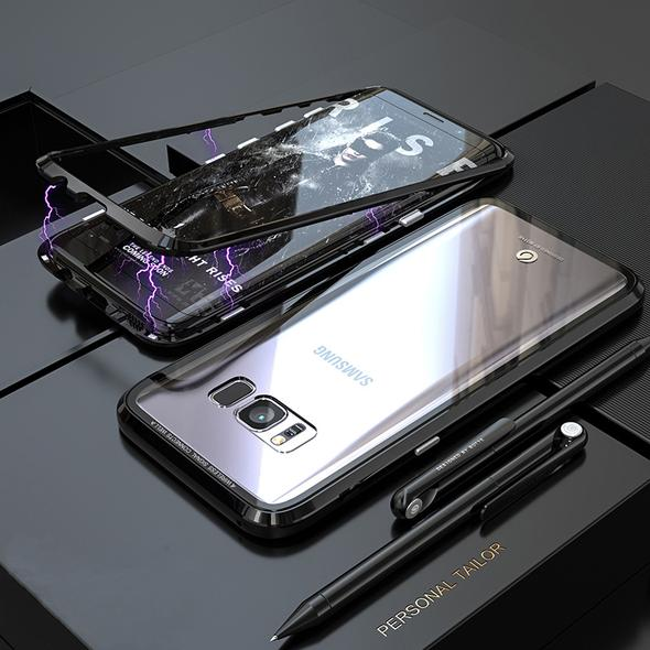 ANTI-KNOCK METAL MAGNETIC FRAME 9H TRANSPARENT Glass Protective Case For SAMSUNG S9/S9 PLUS