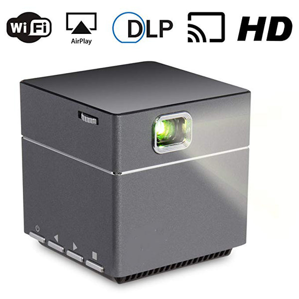 Wireless WiFi Portable Projector - DLP Pico LED 1080p HD Mini Projector - Supports Android Miracast, iOS Apple Airplay Phones and Devices - Rechargeable with Speakers - HDMI and Micro SD Card