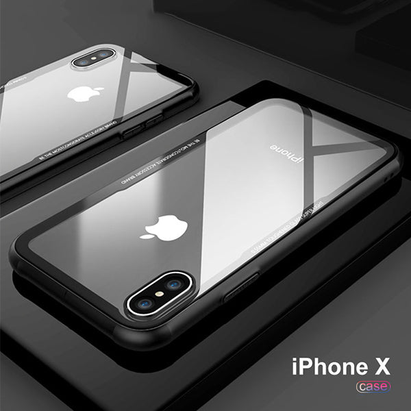 Transparent Tempered Glass Back iPhone Case with Soft Silicon Corners for iPhone X, 8, 8 Plus, 7, 7 Plus, 7S, 6S Plus, 6 Plus, 6, 6S