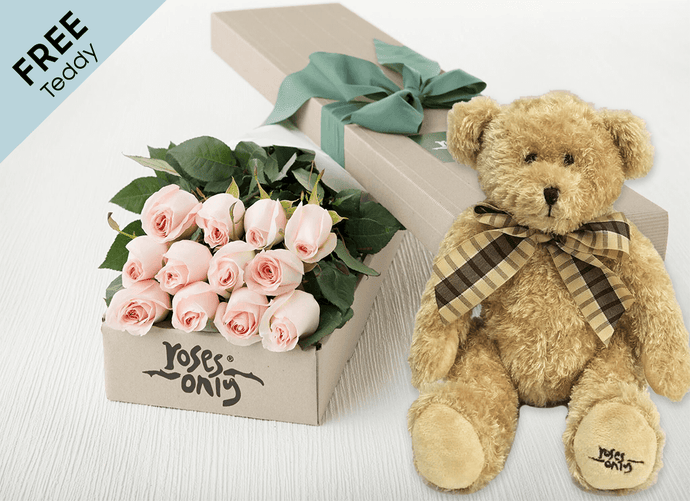 12 Pastel Pink Easter Roses Gift Box and Free Teddy