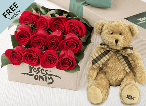 12 Red Easter Roses Gift Box and Free Teddy