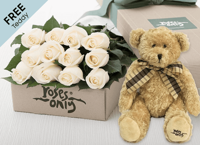 12 White Cream Easter Roses Gift Box and Free Teddy