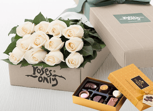 Mother's Day 12 White Cream Roses & Gold Godiva (6PC) Chocolates