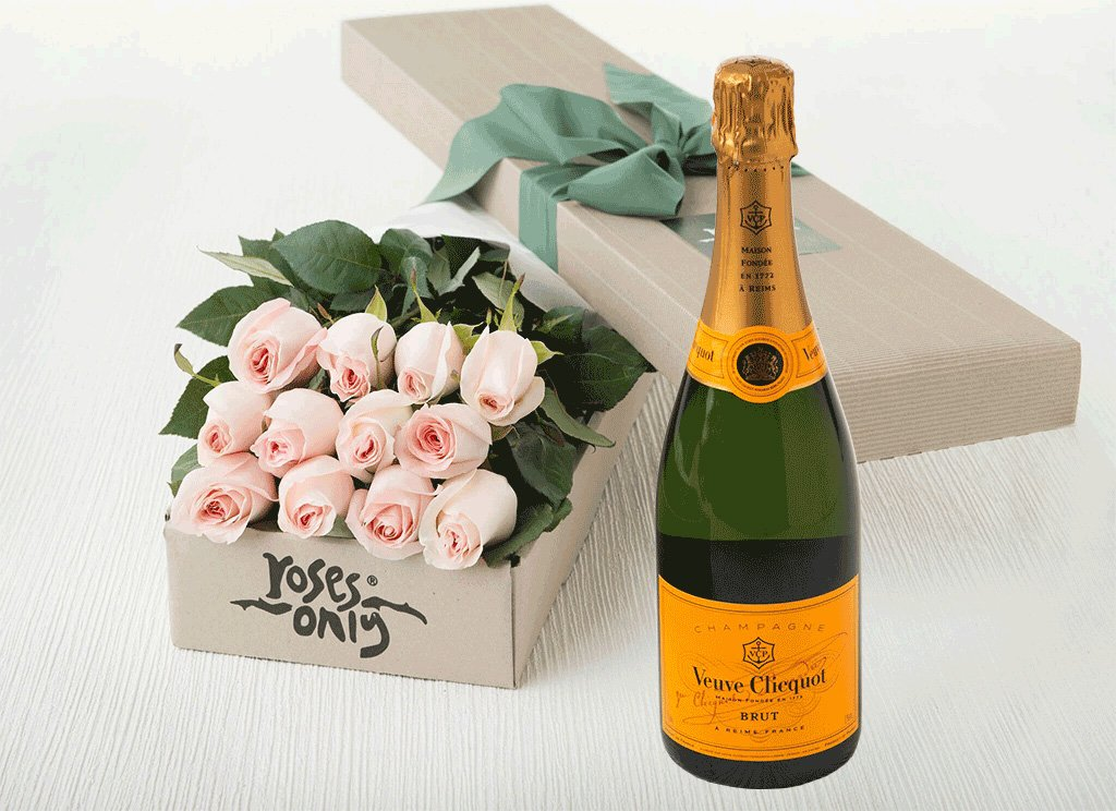 12 Pastel Pink Roses Gift Box & Champagne