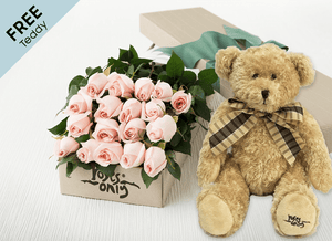 18 Pastel Pink Easter Roses Gift Box and Free Teddy