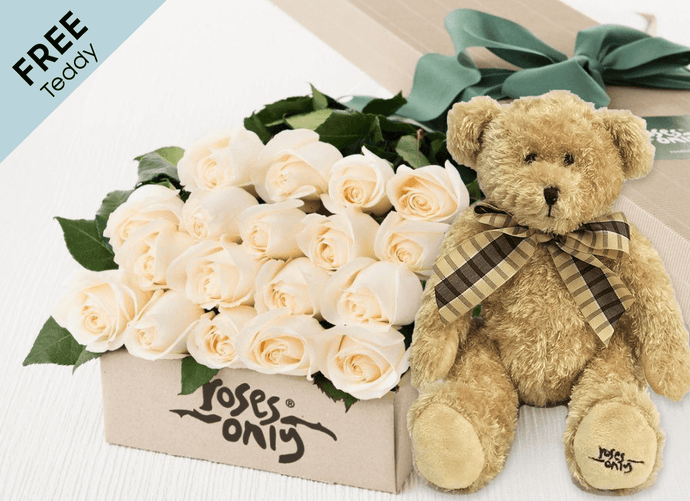 18 White Cream Easter Roses Gift Box and Free Teddy