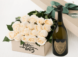 18 White Cream Roses Gift Box & Champagne