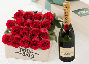18 Red Roses Gift Box & Champagne