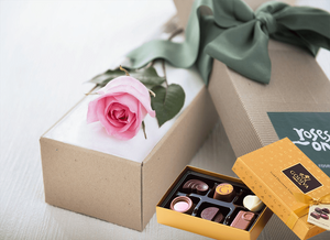 Single Pastel Pink Roses & Gold Godiva (6PC) Chocolates