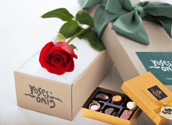 Single Red Roses & Gold Godiva (6PC) Chocolates