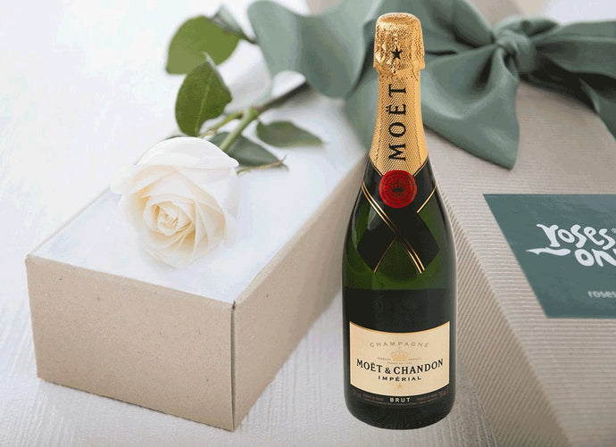 Single White Cream Rose Gift Box & Champagne