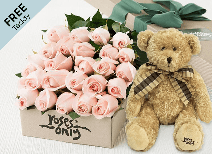 24 Pastel Pink Easter Roses Gift Box and Free Teddy