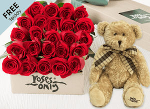 24 Red Easter Roses Gift Box and Free Teddy
