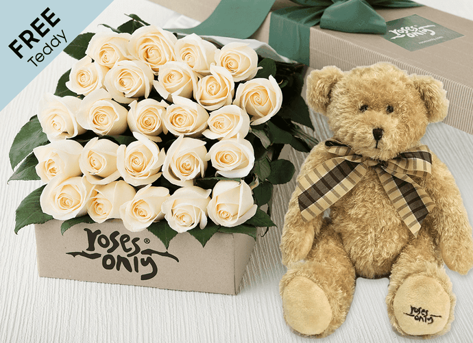 24 White Cream Easter Roses Gift Box and Free Teddy