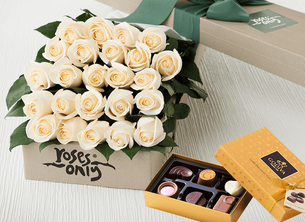 24 White Cream Roses & Gold Godiva (6PC) Chocolates