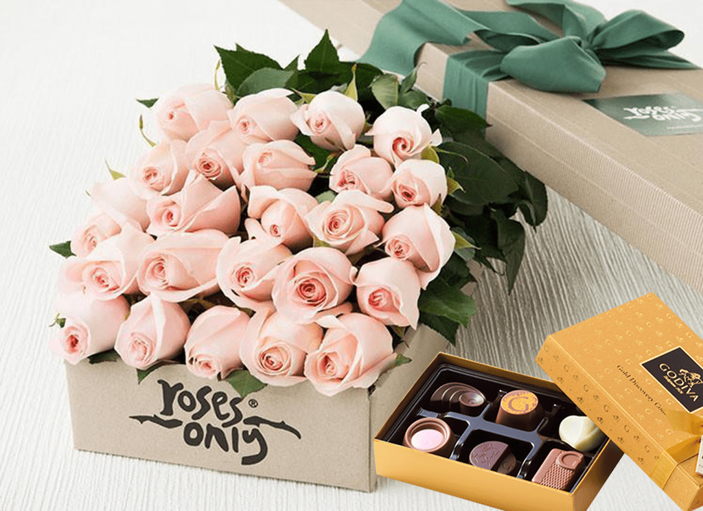 24 Pastel Pink Roses & Gold Godiva (6PC) Chocolates