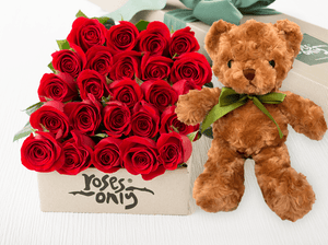 24 Red Roses Valentines Gift Box & Teddy Bear