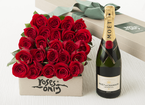 24 Red Roses Gift Box & Moet & Chandon 750mL