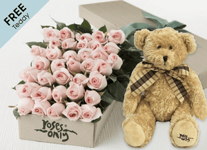 36 Pastel Pink Easter Roses Gift Box and Free Teddy