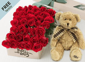 36 Red Easter Roses Gift Box and Free Teddy