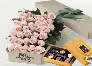 Mother's Day 36 Pastel Pink Roses & Gold Godiva (6PC) Chocolates