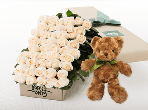 50 White Cream Roses Gift Box & Teddy Bear