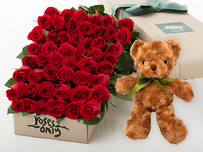 50 Red Roses Gift Box & Teddy Bear