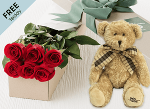 6 Red Easter Roses Gift Box and Free Teddy