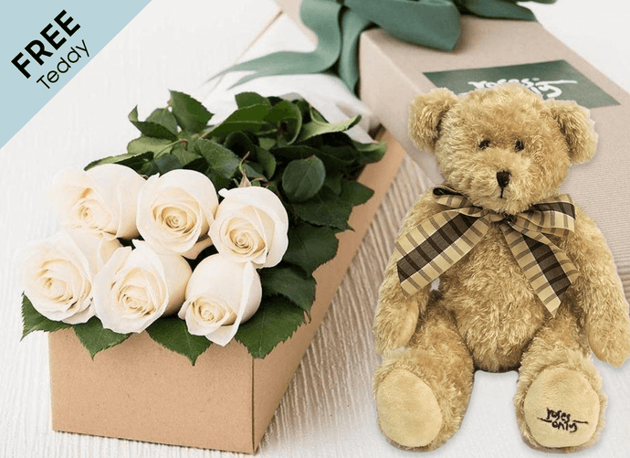 6 White Cream Easter Roses Gift Box and Free Teddy