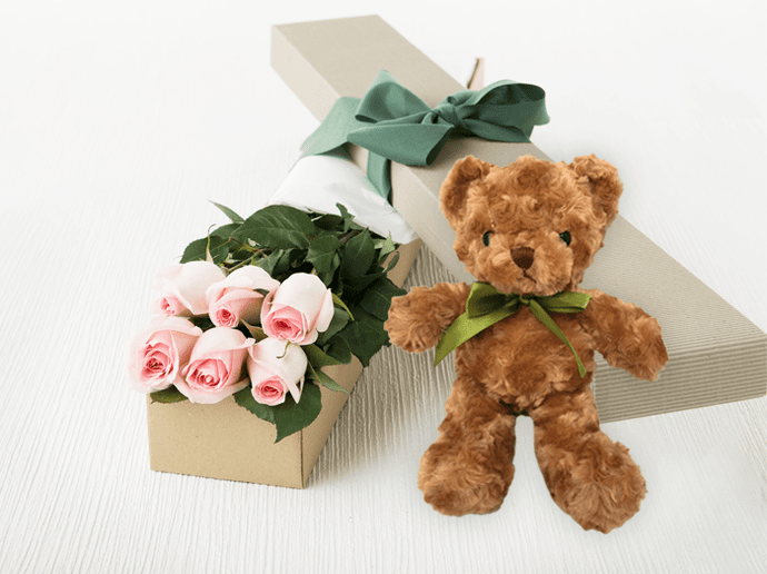 6 Pastel Pink Roses Gift Box & Teddy Bear