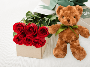 6 Red Roses Gift Box & Teddy Bear